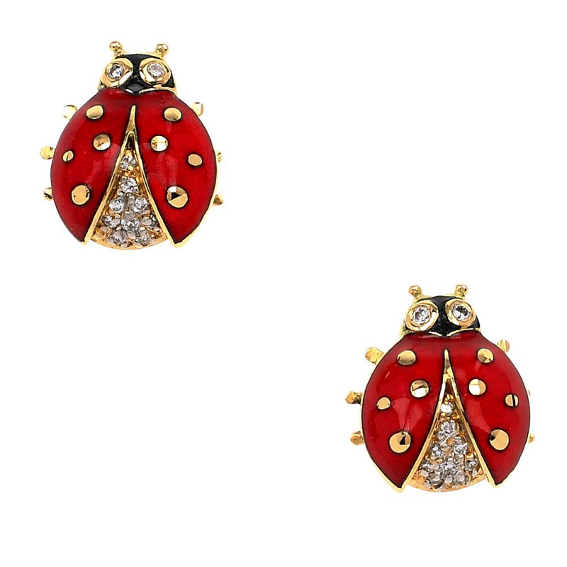Nicole Barr Designs Red Ladybug Stud Earrings.18K -Diamonds