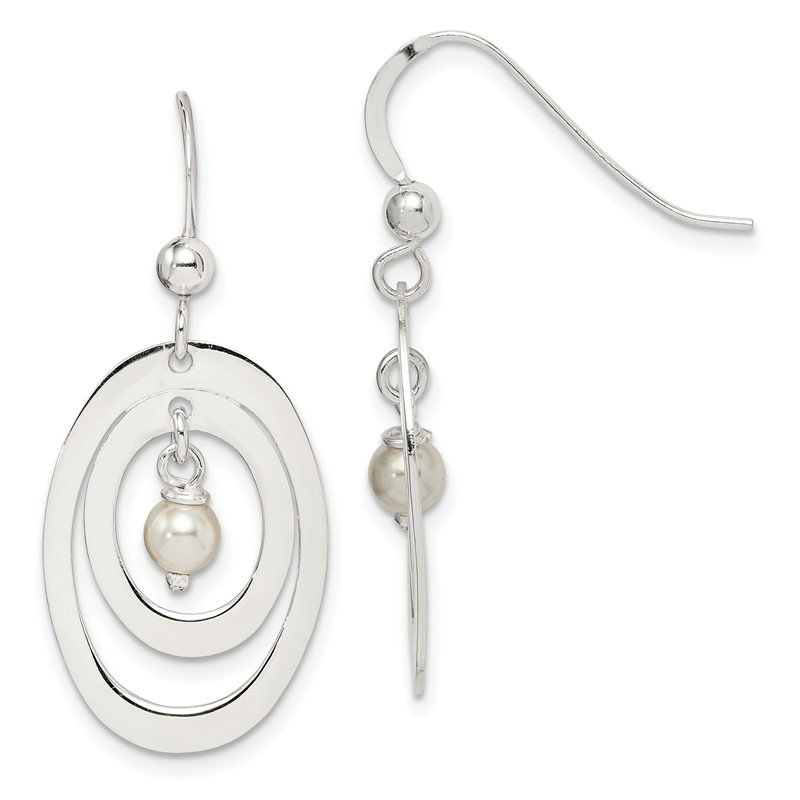 Quality Gold Sterling Silver Circle with Swarovski Simulated Pearl Dangle Earrings