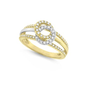 Diamond Double Loop Ring in 14K Yellow Gold with 82 Diamonds Weighing .24ct tw