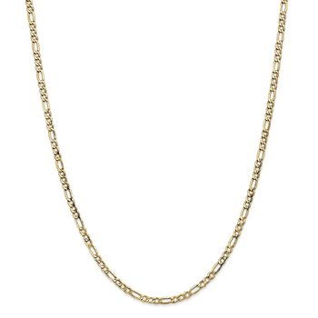 14k 3.5mm Semi-Solid Figaro Chain Anklet