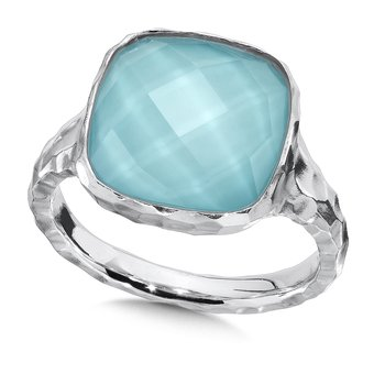 Hammered sterling silver turquoise and white quartz fusion ring