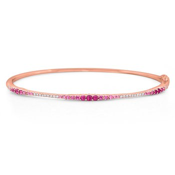Pink Sapphire & Diamond Ombre Bangle Set in 14 Kt. Gold