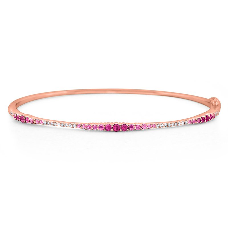 KC Designs Pink Sapphire & Diamond Ombre Bangle Set in 14 Kt. Gold