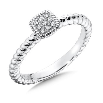 Cushion Sterling Silver Diamond Stacking Ring
