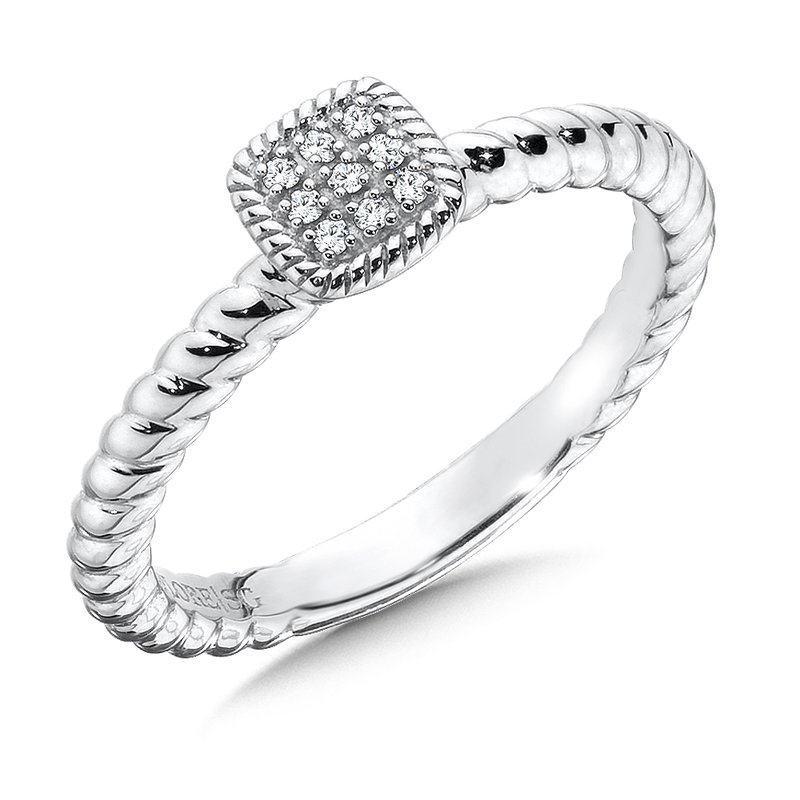 Colore SG Cushion Sterling Silver Diamond Stacking Ring