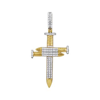 10kt Yellow Gold Mens Round Diamond 3 Nail Cross Charm Pendant 3/4 Cttw