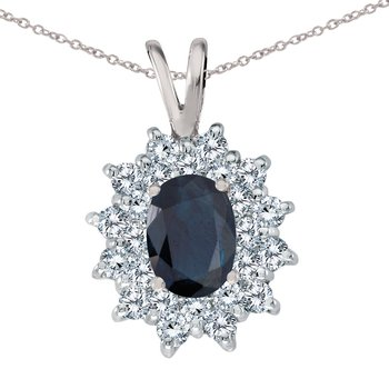 14k White Gold Sapphire Oval Pendant with Diamonds