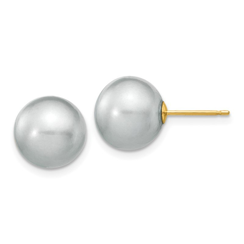Quality Gold 14k 10-11mm Grey Round Freshwater Cultured Pearl Stud Post Earrings