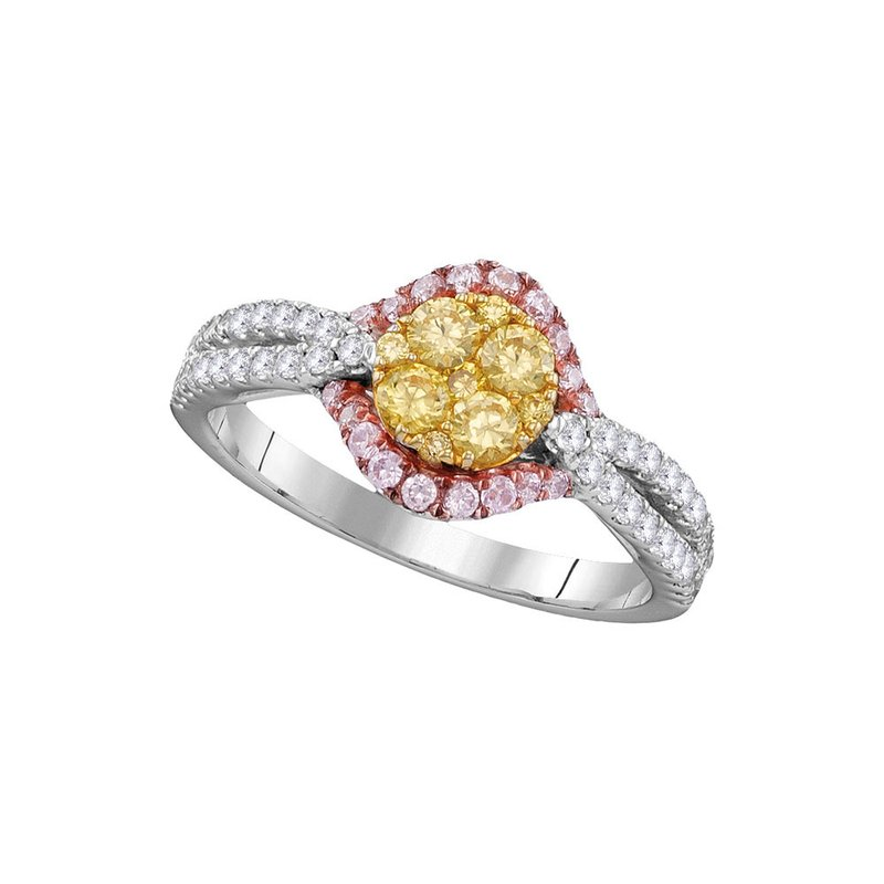 Gold-N-Diamonds, Inc. (Atlanta) 14kt White Gold Womens Round Yellow Diamond Cluster Bridal Wedding Engagement Ring 3/4 Cttw