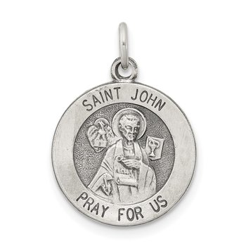 Sterling Silver Antiqued Saint John Medal