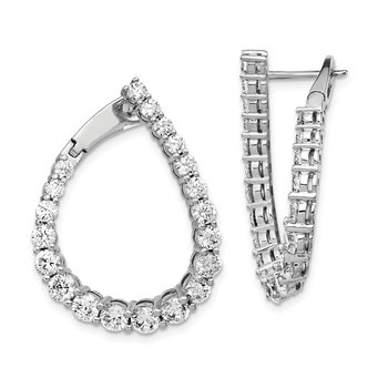 Sterling Silver RH-plated CZ Teardrop Front/Back Hoop Earrings