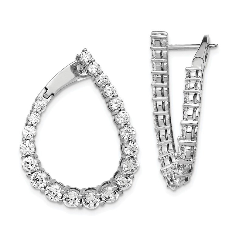 Quality Gold Sterling Silver CZ Teardrop Front/Back Hoop Earrings