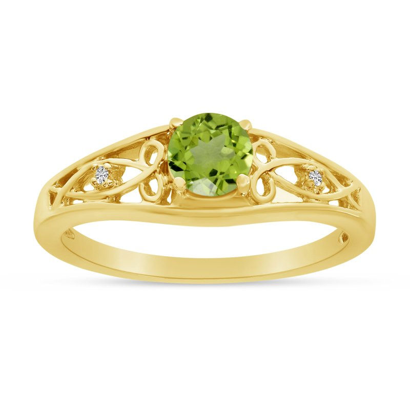 Color Merchants 10k Yellow Gold Round Peridot And Diamond Ring
