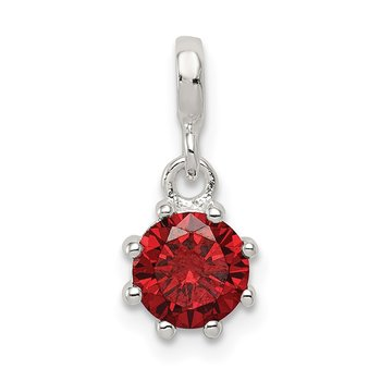 Sterling Silver Dark Red CZ Enhancer