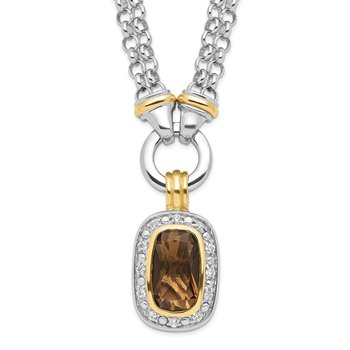 Sterling Silver Flash Gold-plated CZ Necklace