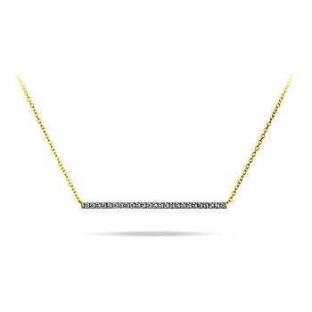 "10K WY Bar Diamond Necklace in Prong Setting and 18""  YG Cable Chain Attached"