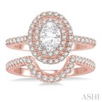 ASHI oval shape diamond wedding set