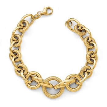 Leslie's 14k Gold Polished Textured Fancy Link Bracelet