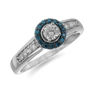 14K WG Engagement Ring with Blue Diamonds Halo and White Diamonds on the Shank in Prong Setting Center 1/6 Ct