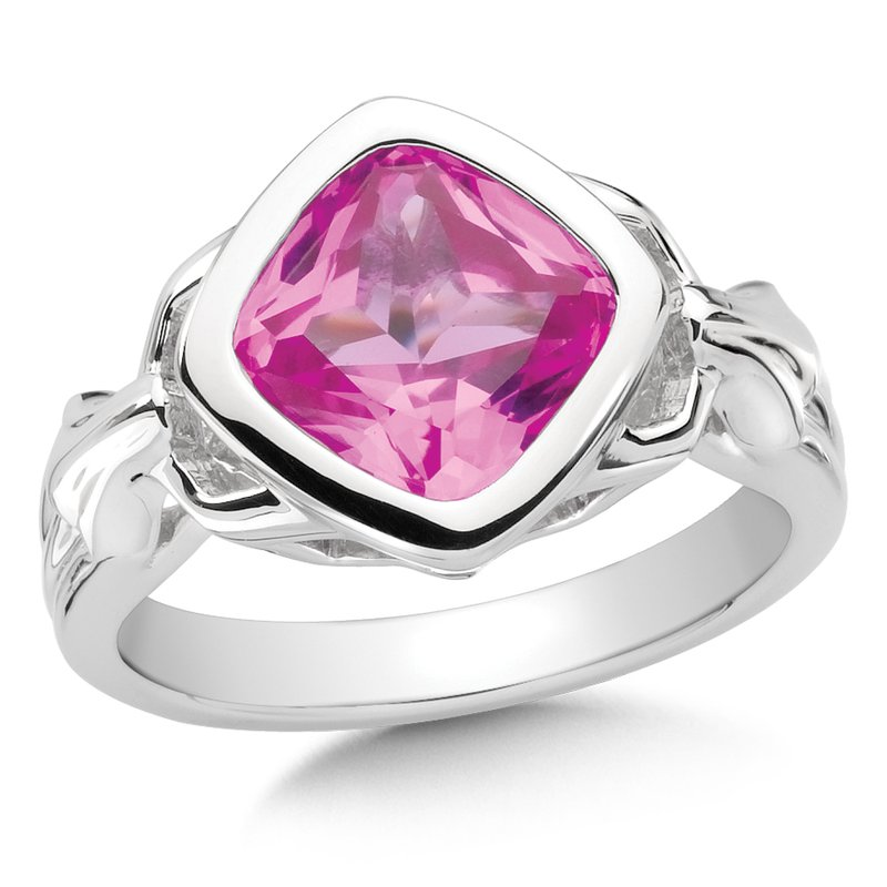 Colore Sg Sterling Silver Created Pink Sapphire Fleur De Lis Ring
