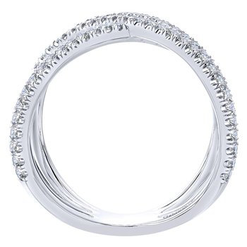 14K White Gold Layered Woven Diamond Ring