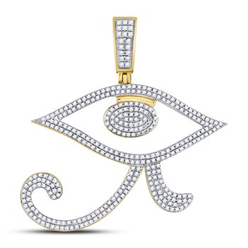 10kt Yellow Gold Mens Round Diamond Eye of Ra Egyptian Charm Pendant 1.00 Cttw