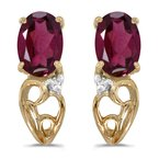 Color Merchants 10k Yellow Gold Oval Rhodolite Garnet And Diamond Earrings