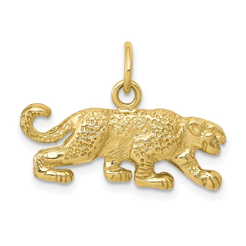Quality Gold 10k Solid Satin Small Leopard Charm