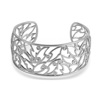 925 SS DiaFashion Cuff Bangle in School of Fish Design