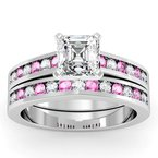 J.F. Kruse Signature Collection Channel set Pink Sapphire and Diamond Engagement Ring with Matching Wedding Band