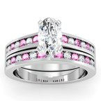 Channel set Pink Sapphire and Diamond Engagement Ring with Matching Wedding Band