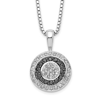Sterling Silver Rhod Plated Black and White Diamond Circle Pendant Necklace