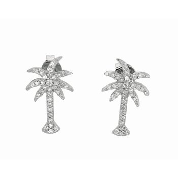 Silver CZ Palm Tree Stud Earrings