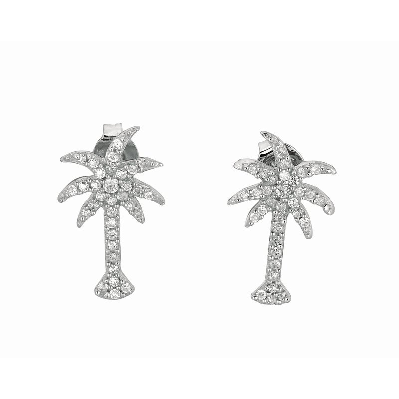 Royal Chain Silver CZ Palm Tree Stud Earrings