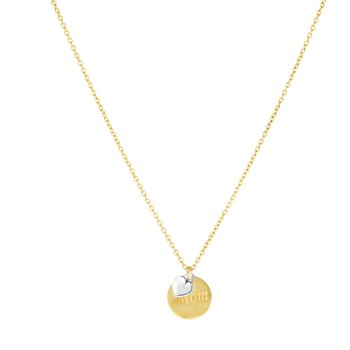 14K Gold Mom Disc and Dangle Heart Necklace