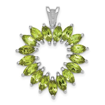 Sterling Silver Rhodium Marquise Peridot Heart Pendant