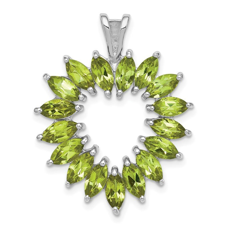 Arizona Diamond Center Collection Sterling Silver Rhodium Marquise Peridot Heart Pendant
