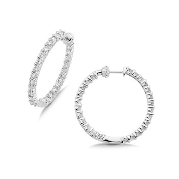 Pave set Diamond Reflection Hoops in 14k White Gold (1 1/2ct. tw.) GH/SI1-SI2