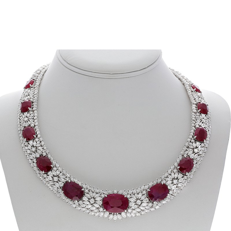 Roman & Jules Diamond & Ruby Collar Necklace