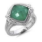 Colore Sg Sterling Silver White Quartz & Dyed Green Agate Fusion Split Shank Ring
