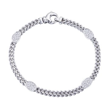 White Gold Braided Bracelet with Diamond Ovals