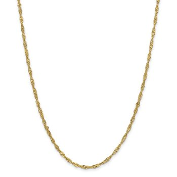 14k 2.75mm Lightweight Singapore Chain Anklet