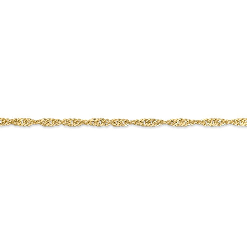 Quality Gold 14k 2.75mm Lightweight Singapore Chain Anklet