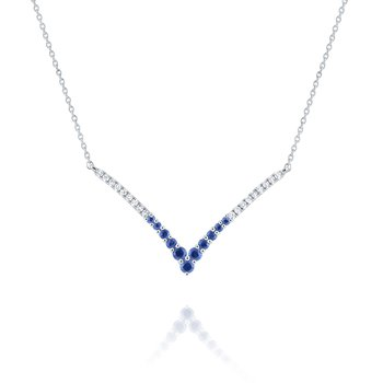 "Blue Sapphire & Diamond ""V"" Necklace Set in 14 Kt. Gold"
