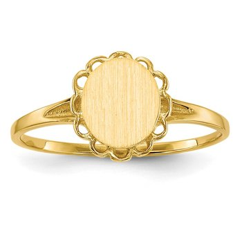 14k 7.5x6.5mm Open Back Signet Ring