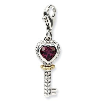 Sterling Silver w/14k Rhodolite Garnet Antiqued Key w/Lobster Clasp Charm