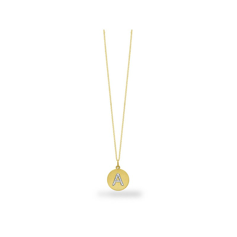 "MAZZARESE Fashion Diamond Disc Initial ""A"" Necklace in 14k Yellow Gold with 15 Diamonds weighing .09ct tw."