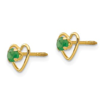 14k Madi K 3mm Emerald Birthstone Heart Earrings