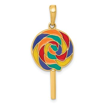 14k 3D Enameled Lollipop Pendant