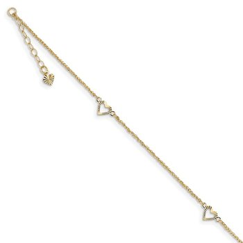 14k Diamond-cut Hearts 9in Plus 1in ext Anklet